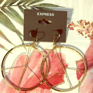 Express gold peace sign wire wrapped hoop earrings